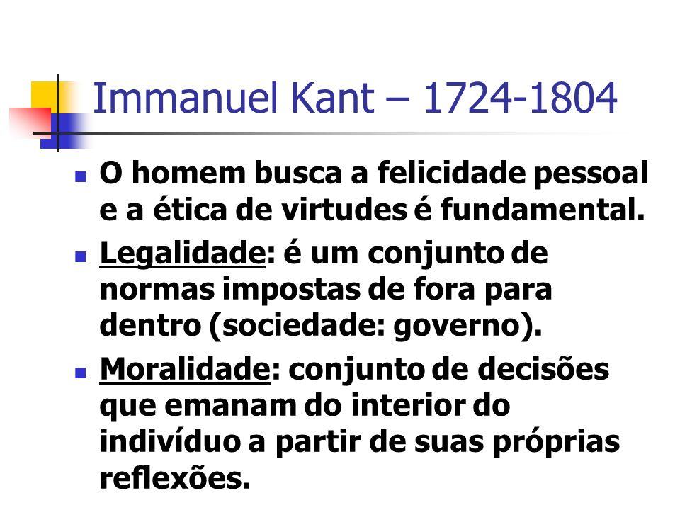 Immanuel Kant – 1724-1804 O homem busca a felicidade pessoal e a ética de virtudes é fundamental.