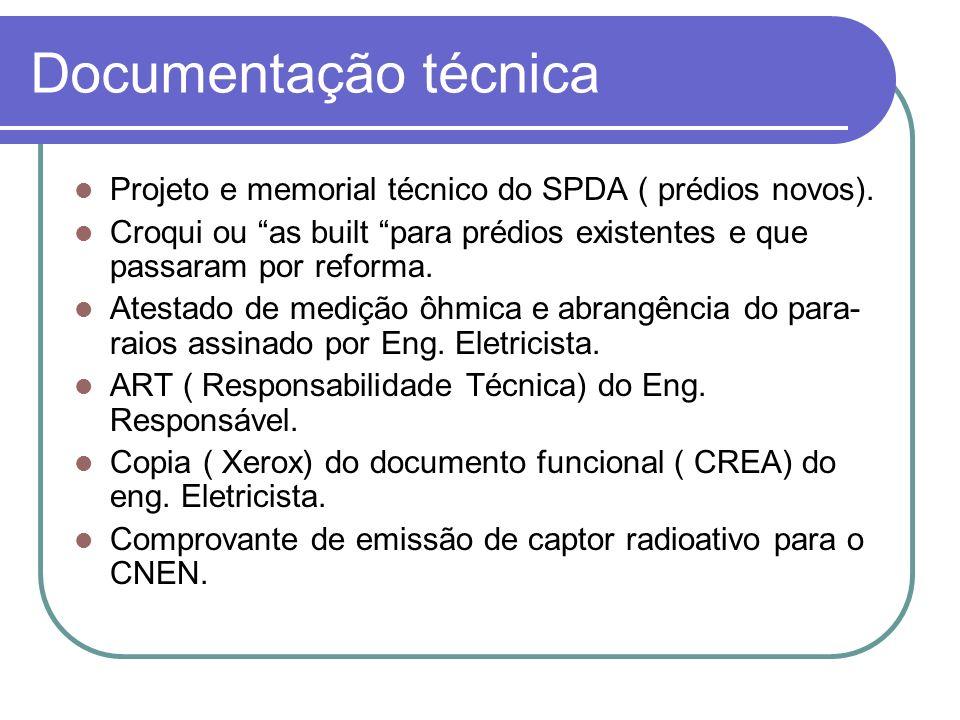 Documentação técnica Projeto e memorial técnico do SPDA ( prédios novos). Croqui ou as built para prédios existentes e que passaram por reforma.