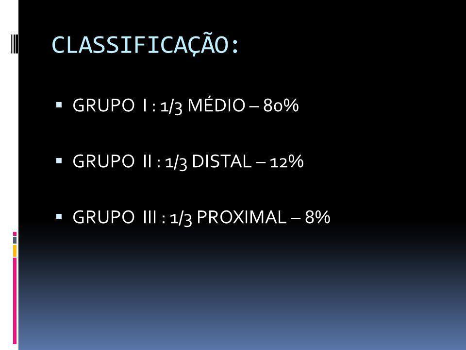 CLASSIFICAÇÃO: GRUPO I : 1/3 MÉDIO – 80% GRUPO II : 1/3 DISTAL – 12%