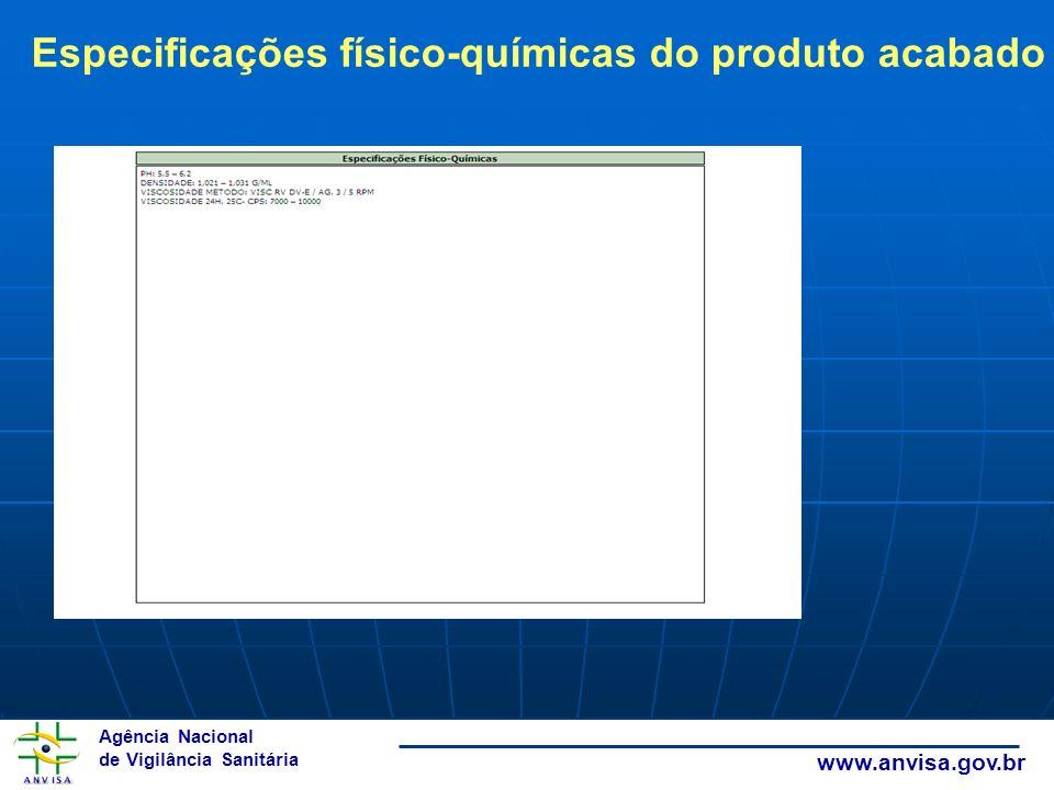 Especificações físico-químicas do produto acabado