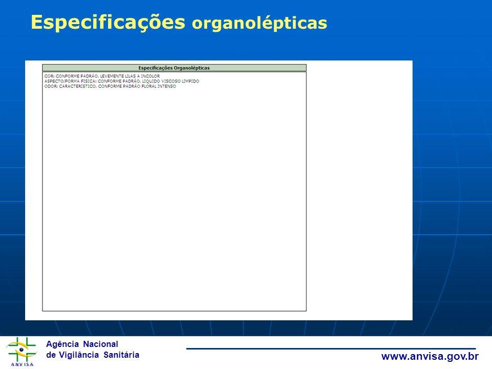 Especificações organolépticas
