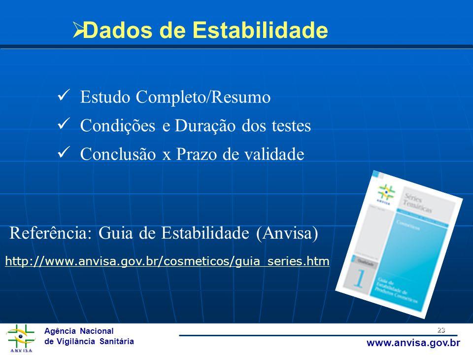 Dados de Estabilidade Estudo Completo/Resumo