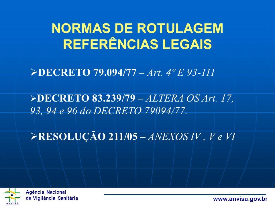 NORMAS DE ROTULAGEM REFERÊNCIAS LEGAIS