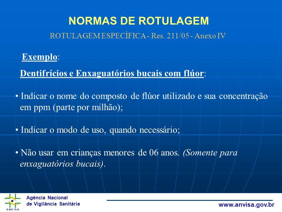 ROTULAGEM ESPECÍFICA - Res. 211/05 - Anexo IV