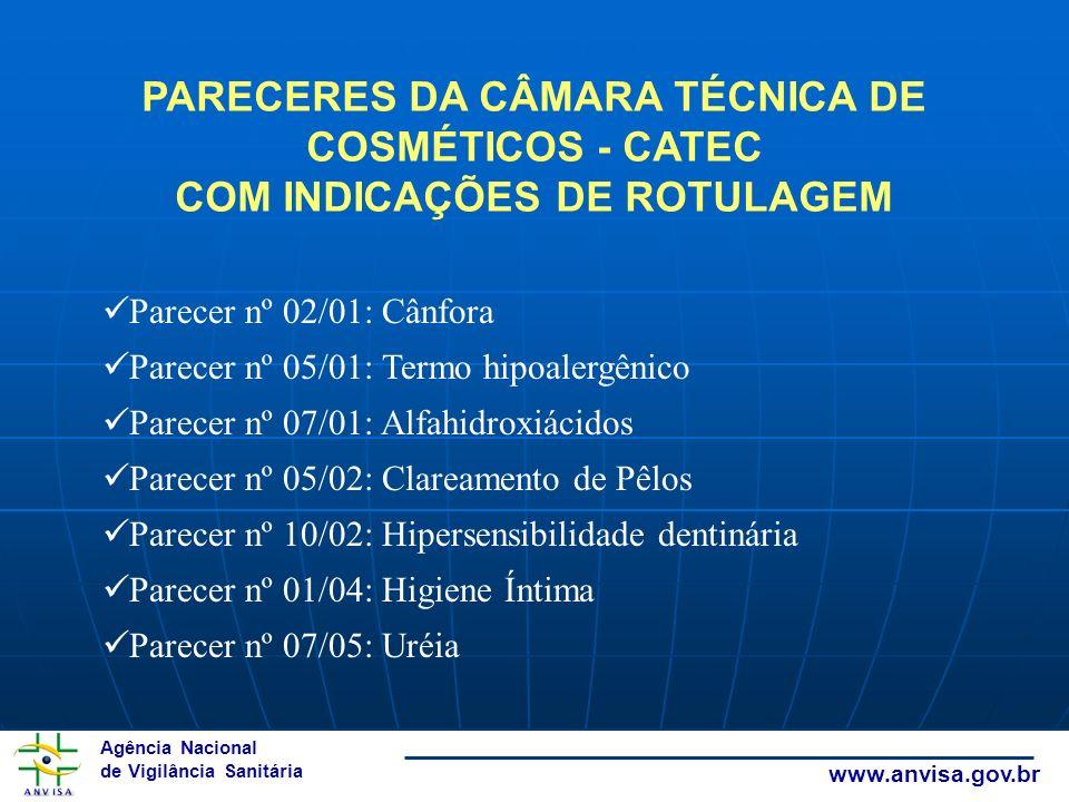 PARECERES DA CÂMARA TÉCNICA DE COSMÉTICOS - CATEC