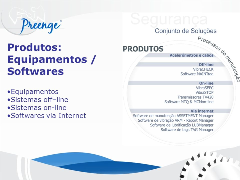 Produtos: Equipamentos / Softwares