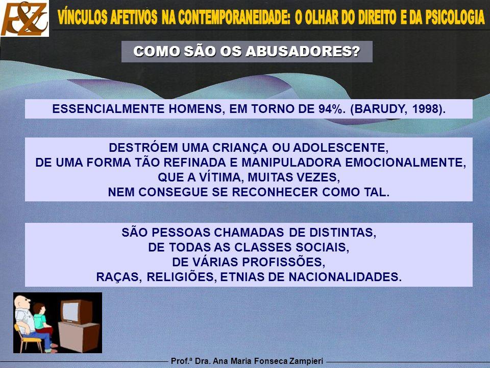 ESSENCIALMENTE HOMENS, EM TORNO DE 94%. (BARUDY, 1998).