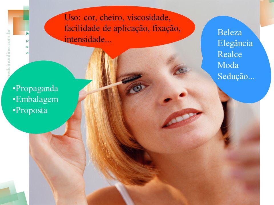 Uso: cor, cheiro, viscosidade, facilidade de aplicação, fixação, intensidade...