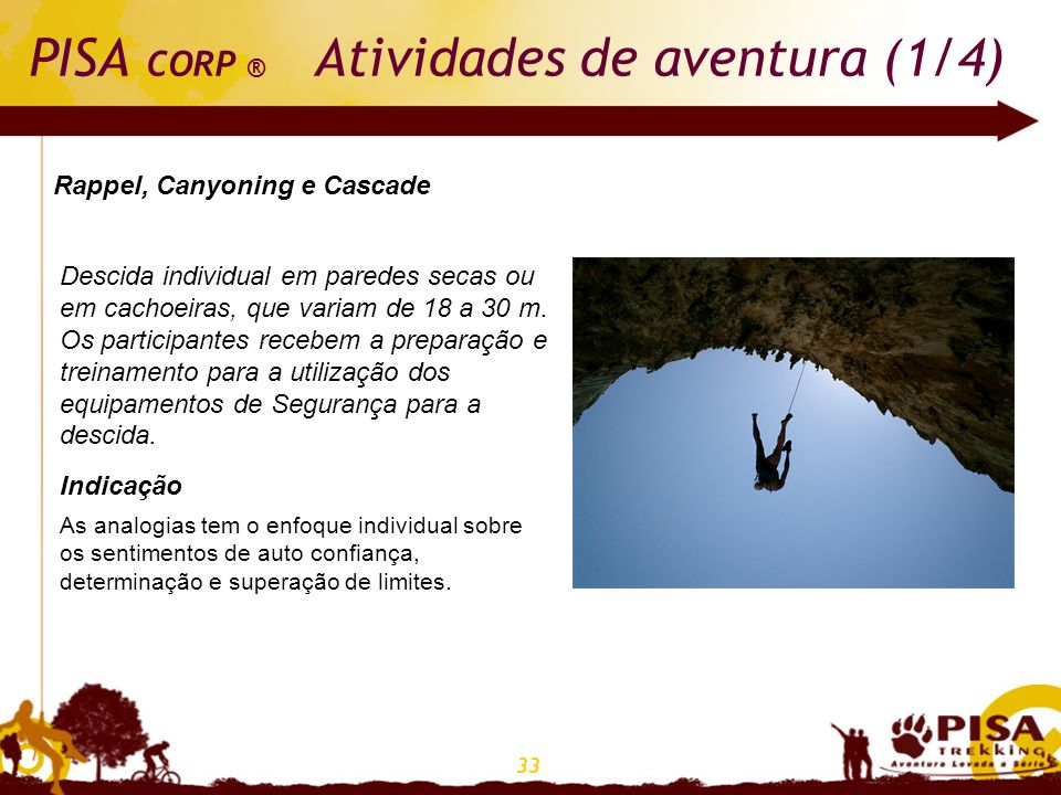 PISA CORP ® Atividades de aventura (1/4)