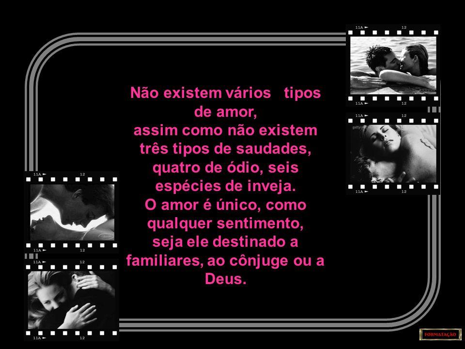 Não existem vários tipos de amor, assim como não existem três tipos de saudades, quatro de ódio, seis espécies de inveja.