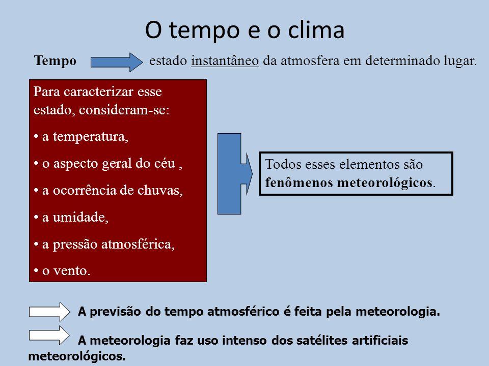 O tempo e o clima Tempo. estado instantâneo da atmosfera em determinado lugar. Para caracterizar esse estado, consideram-se: