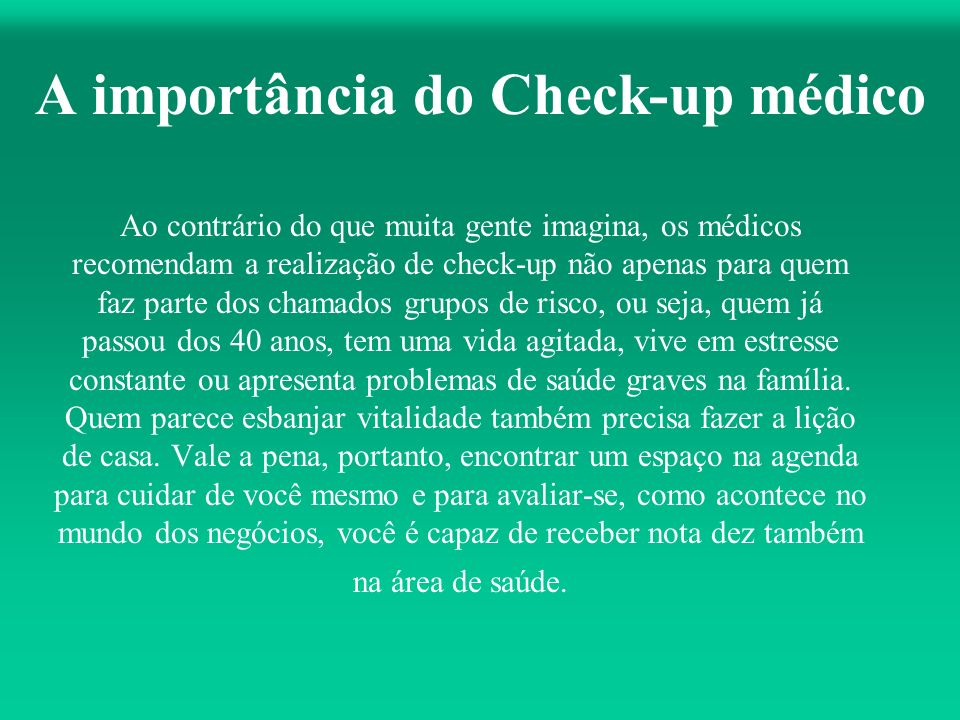 A importância do Check-up médico