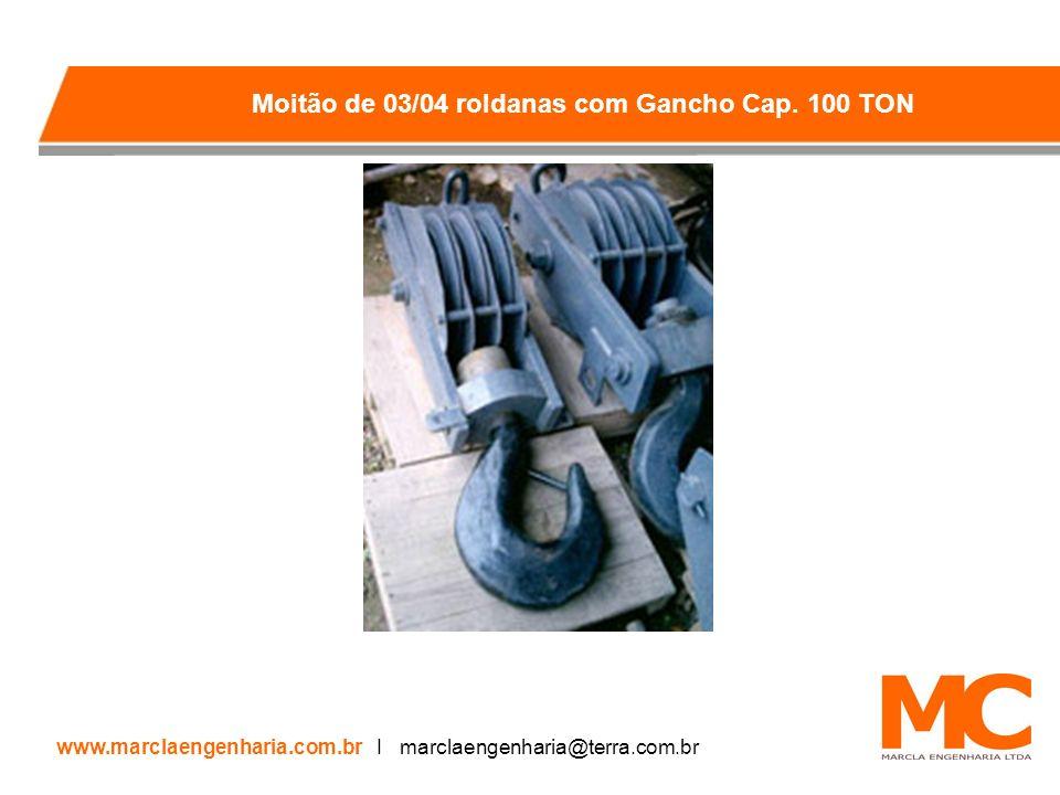 Moitão de 03/04 roldanas com Gancho Cap. 100 TON
