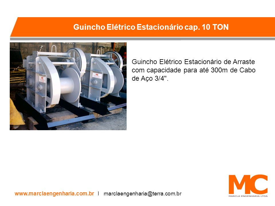 Guincho Elétrico Estacionário cap. 10 TON