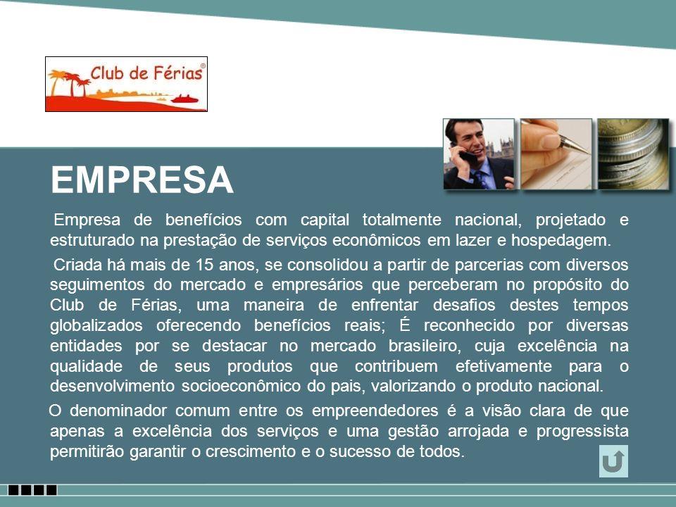 EMPRESA Empresa de benefícios com capital totalmente nacional, projetado e estruturado na prestação de serviços econômicos em lazer e hospedagem.