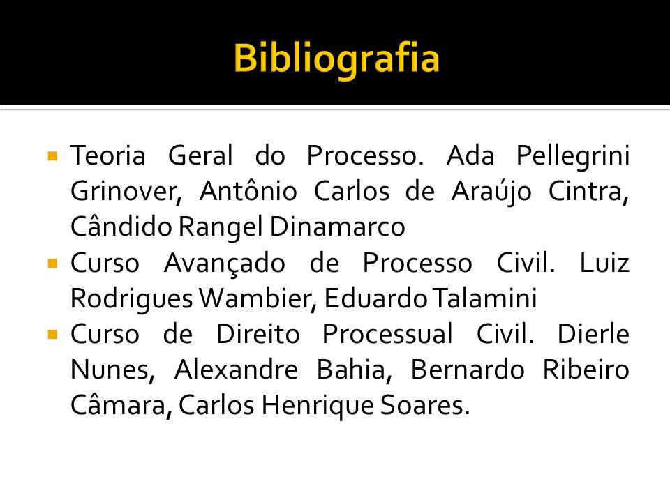Bibliografia Teoria Geral do Processo. Ada Pellegrini Grinover, Antônio Carlos de Araújo Cintra, Cândido Rangel Dinamarco.