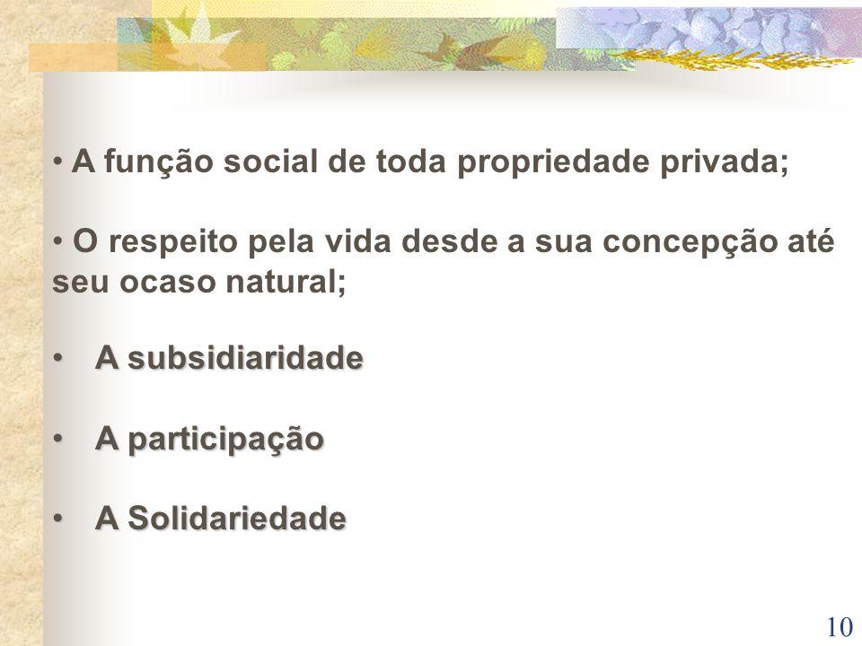 A função social de toda propriedade privada;