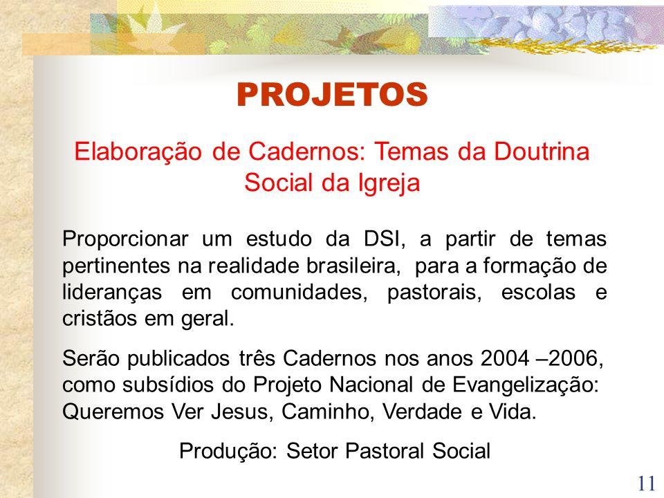PROJETOS Elaboração de Cadernos: Temas da Doutrina Social da Igreja