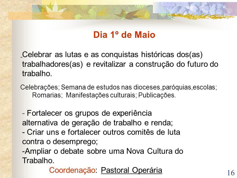 Coordenação: Pastoral Operária