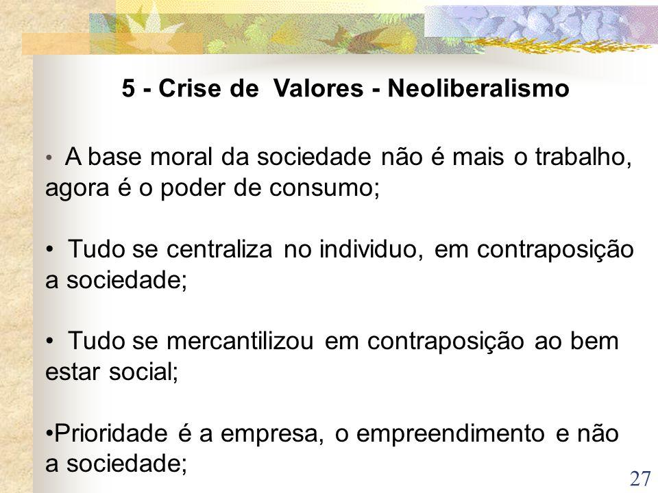 5 - Crise de Valores - Neoliberalismo