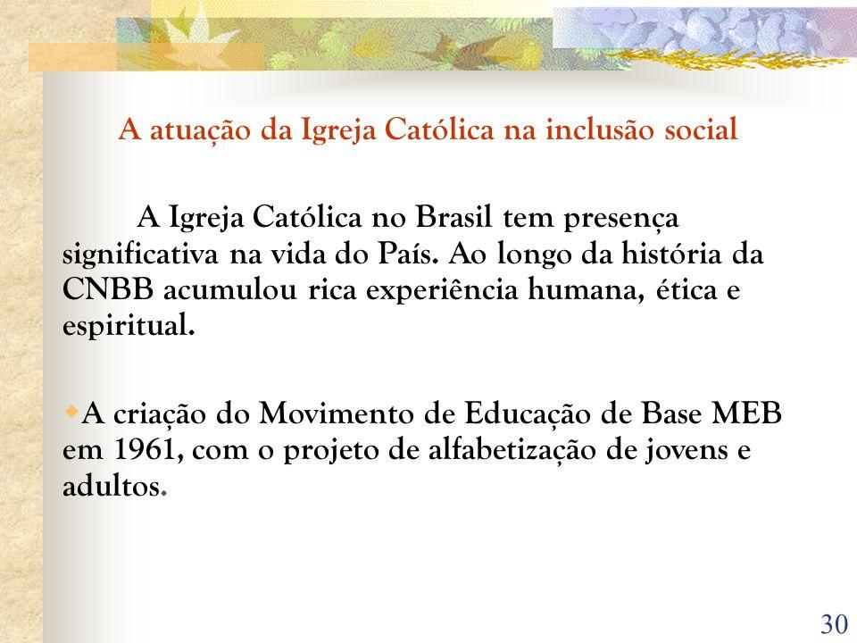 A atuação da Igreja Católica na inclusão social