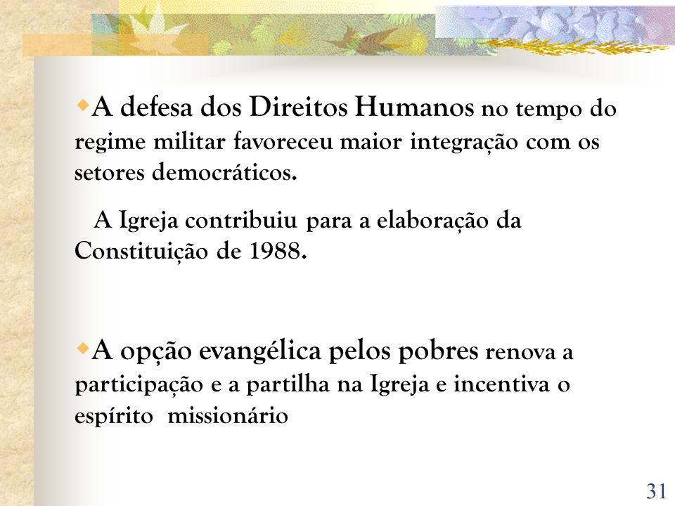 A defesa dos Direitos Humanos no tempo do regime militar favoreceu maior integração com os setores democráticos.