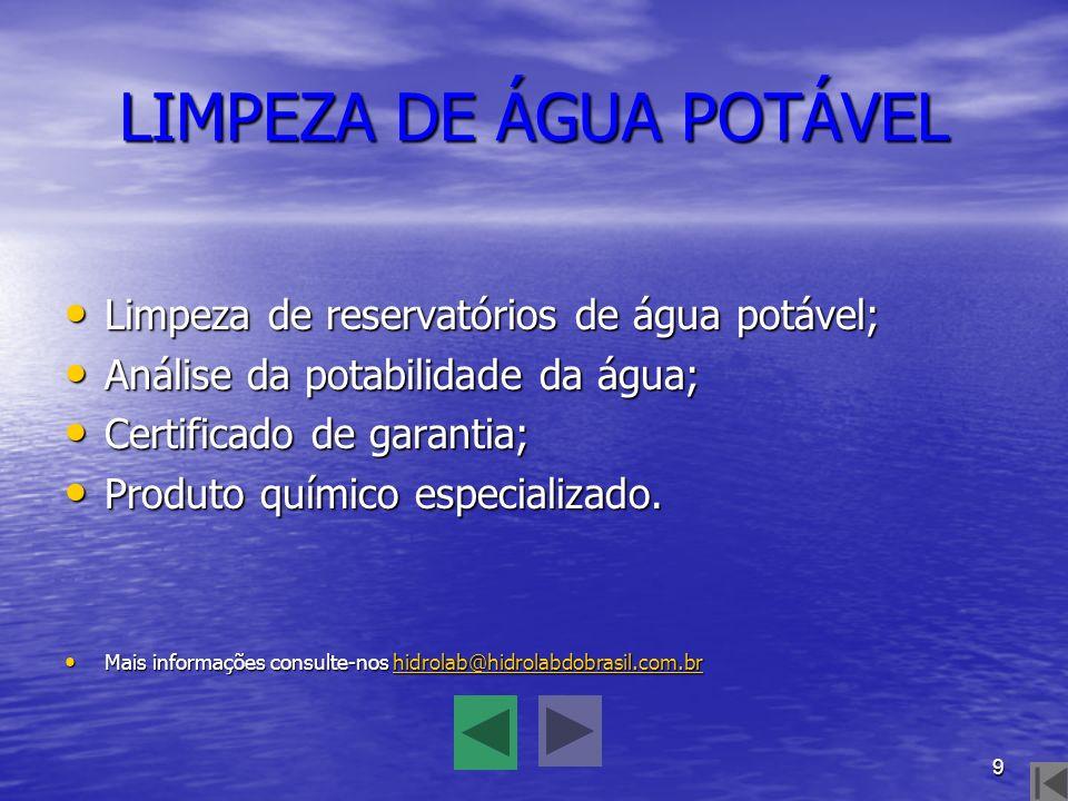 LIMPEZA DE ÁGUA POTÁVEL