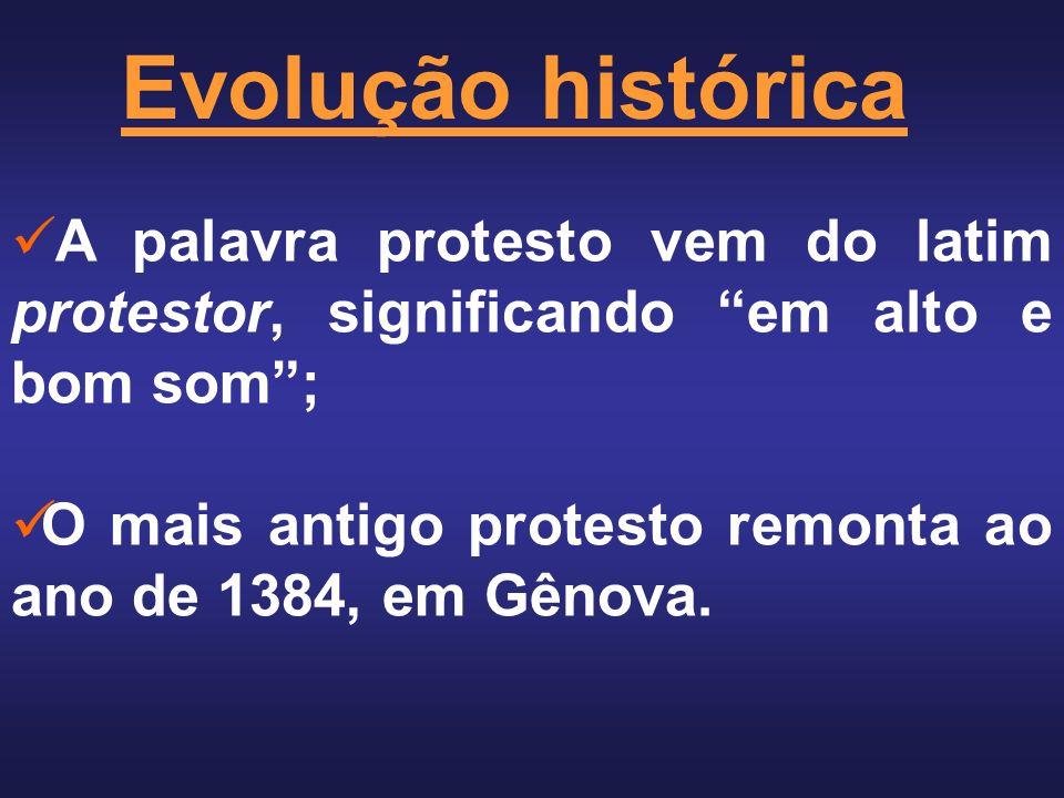 Evolução histórica A palavra protesto vem do latim protestor, significando em alto e bom som ;
