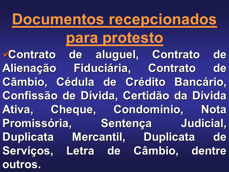 Documentos recepcionados para protesto
