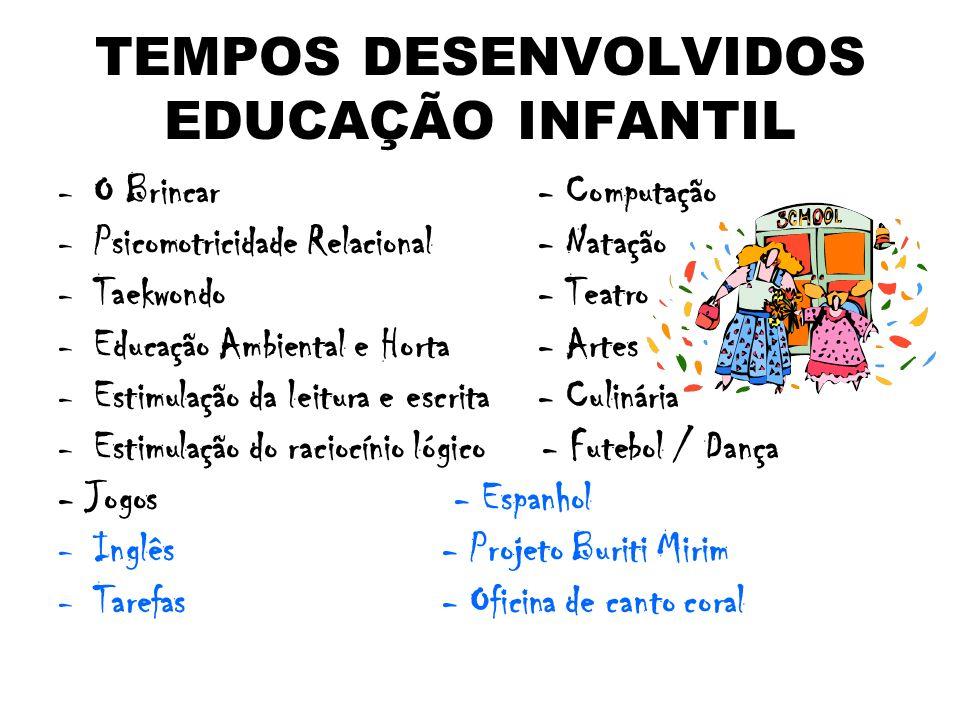 TEMPOS DESENVOLVIDOS EDUCAÇÃO INFANTIL