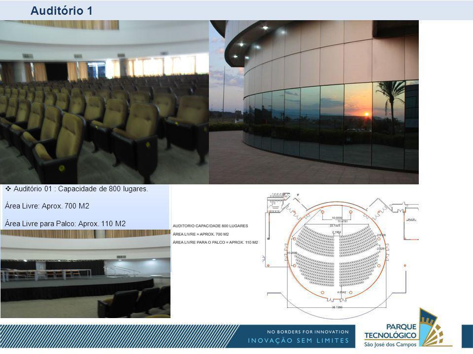 Auditório 1 Auditório 01 : Capacidade de 800 lugares.