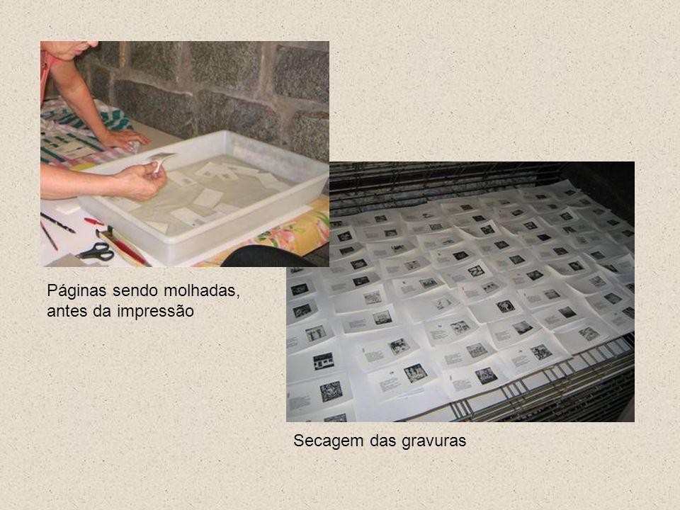 Páginas sendo molhadas, antes da impressão
