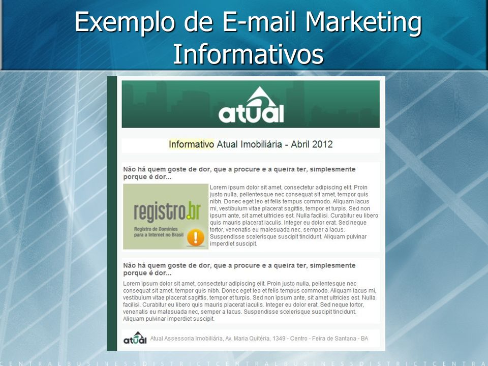 Exemplo de E-mail Marketing Informativos