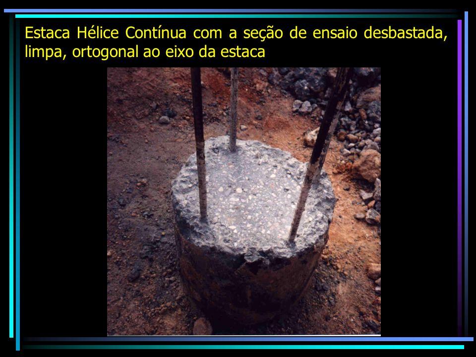 Estaca Hélice Contínua com a seção de ensaio desbastada, limpa, ortogonal ao eixo da estaca