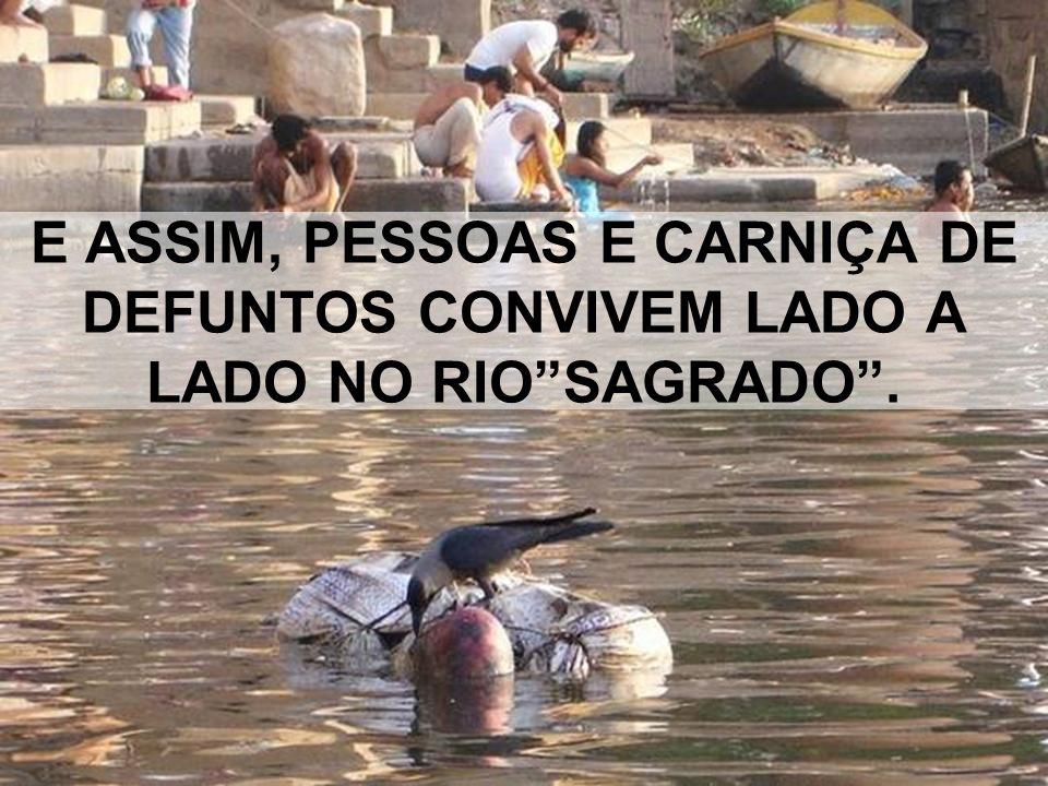 E ASSIM, PESSOAS E CARNIÇA DE DEFUNTOS CONVIVEM LADO A LADO NO RIO SAGRADO .