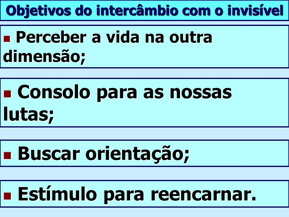Objetivos do intercâmbio com o invisível