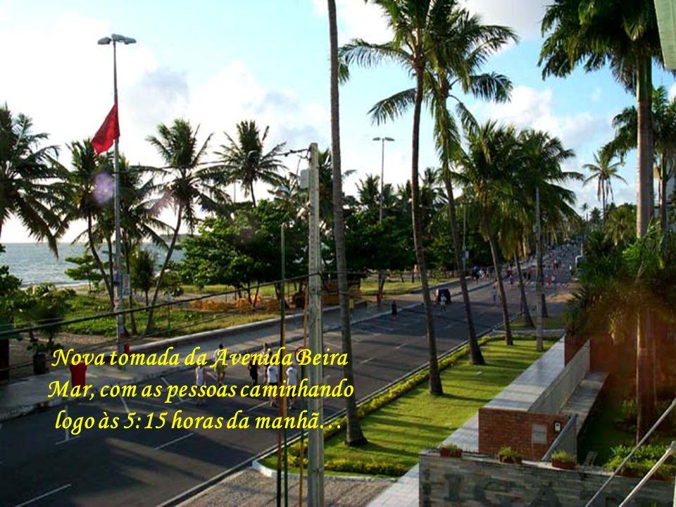 Nova tomada da Avenida Beira Mar, com as pessoas caminhando