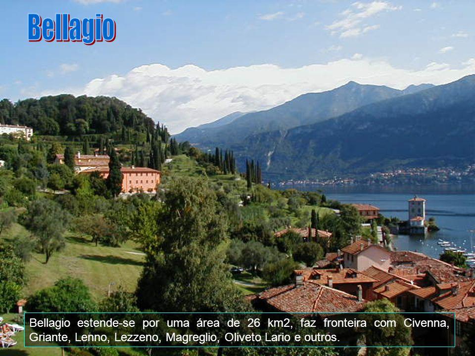 Bellagio Bellagio estende-se por uma área de 26 km2, faz fronteira com Civenna, Griante, Lenno, Lezzeno, Magreglio, Oliveto Lario e outros.