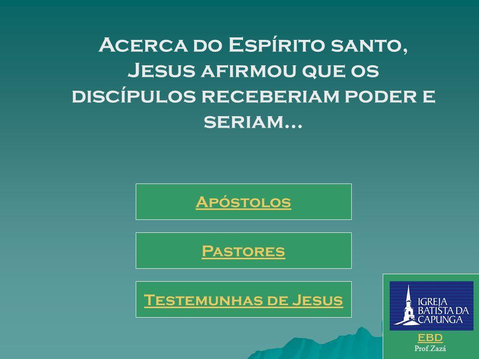 Acerca do Espírito santo, Jesus afirmou que os discípulos receberiam poder e seriam...