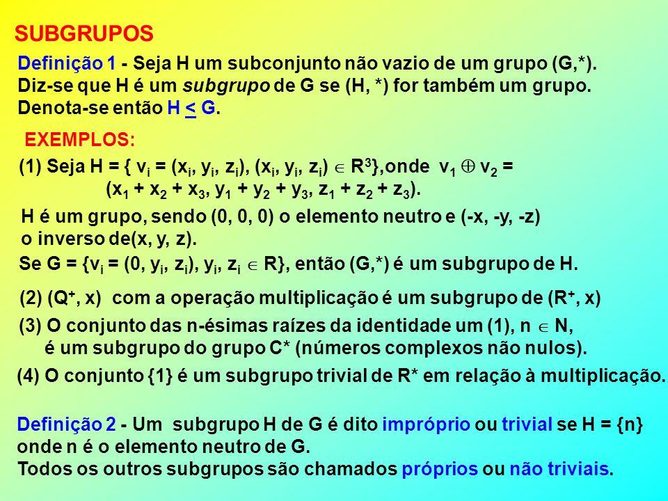 SUBGRUPOS Definição 1 - Seja H um subconjunto não vazio de um grupo (G,*). Diz-se que H é um subgrupo de G se (H, *) for também um grupo.