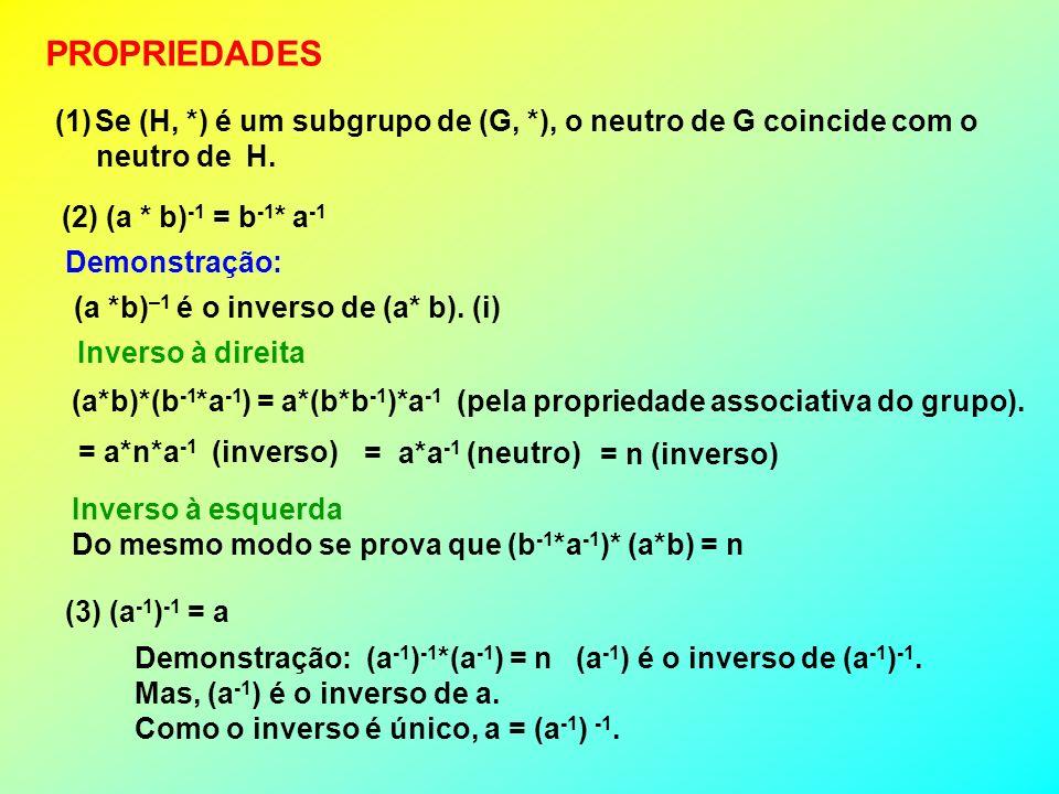 PROPRIEDADES Se (H, *) é um subgrupo de (G, *), o neutro de G coincide com o. neutro de H. (2) (a * b)-1 = b-1* a-1.