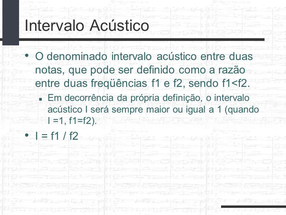 Intervalo Acústico O denominado intervalo acústico entre duas notas, que pode ser definido como a razão entre duas freqüências f1 e f2, sendo f1<f2.