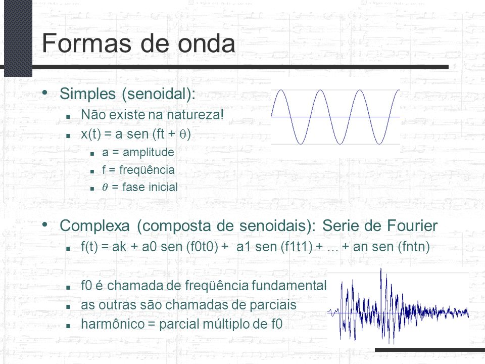 Formas de onda Simples (senoidal):