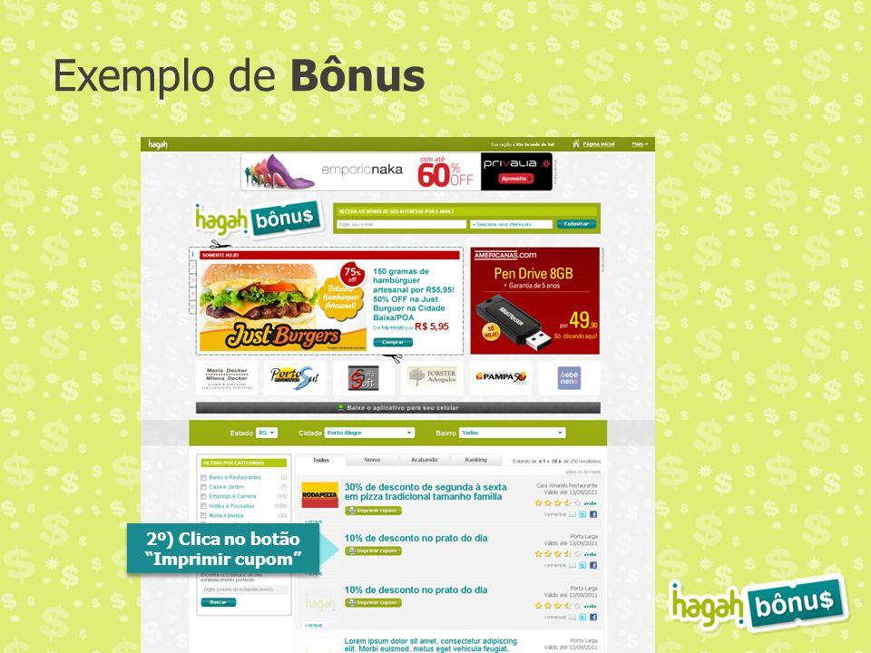 Exemplo de Bônus 2º) Clica no botão Imprimir cupom