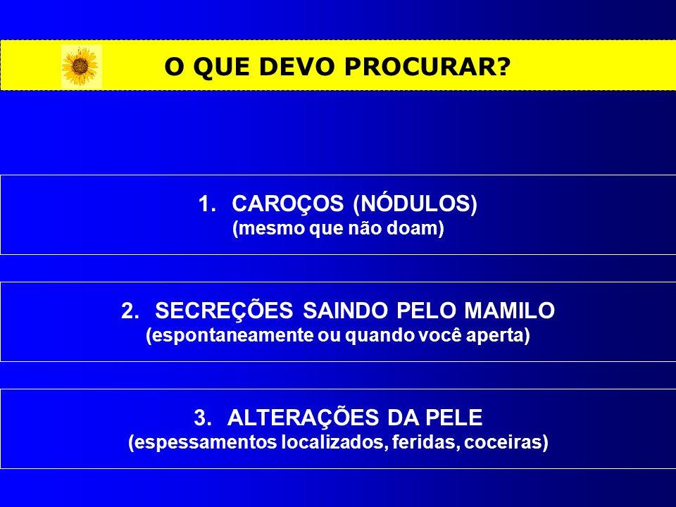 O QUE DEVO PROCURAR CAROÇOS (NÓDULOS) SECREÇÕES SAINDO PELO MAMILO