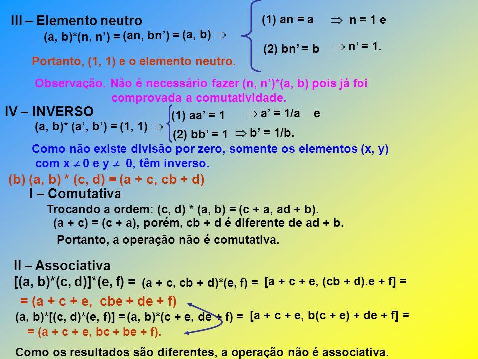 (b) (a, b) * (c, d) = (a + c, cb + d) I – Comutativa
