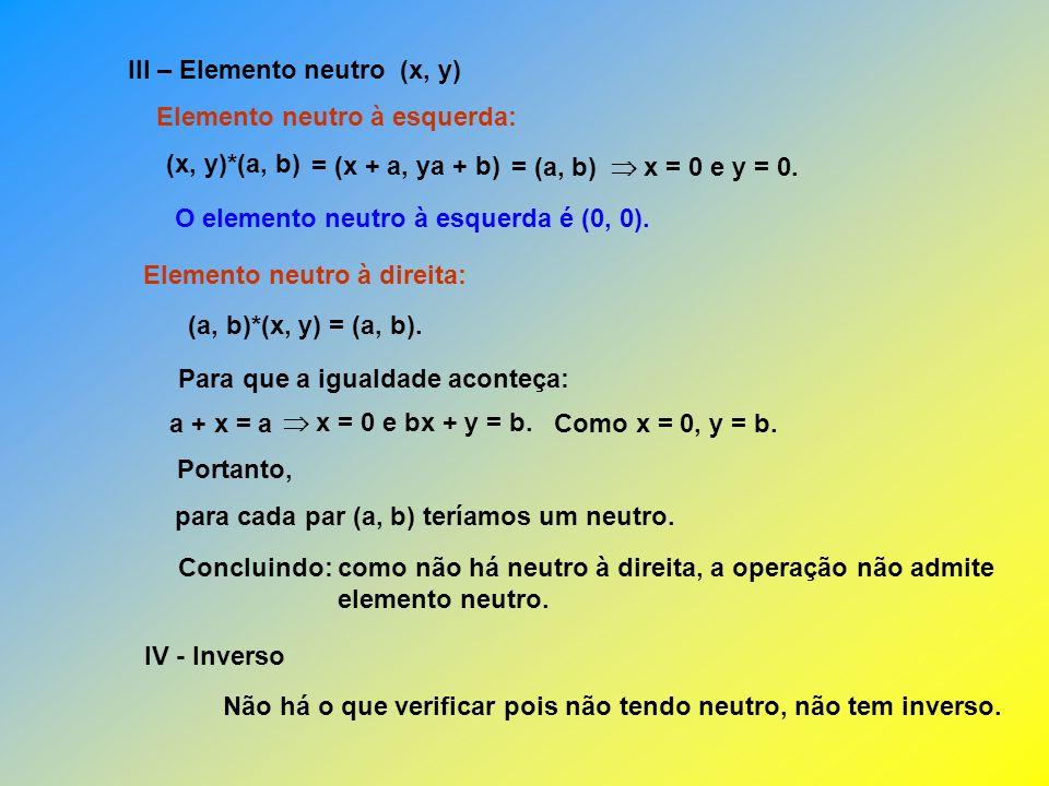 III – Elemento neutro (x, y)