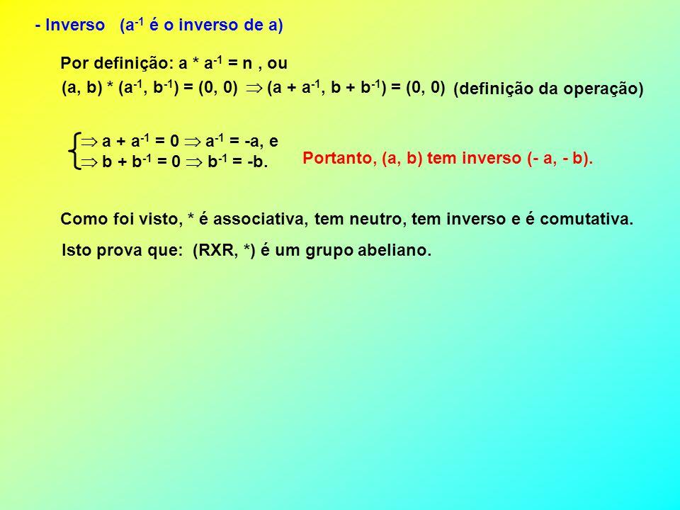 - Inverso (a-1 é o inverso de a)