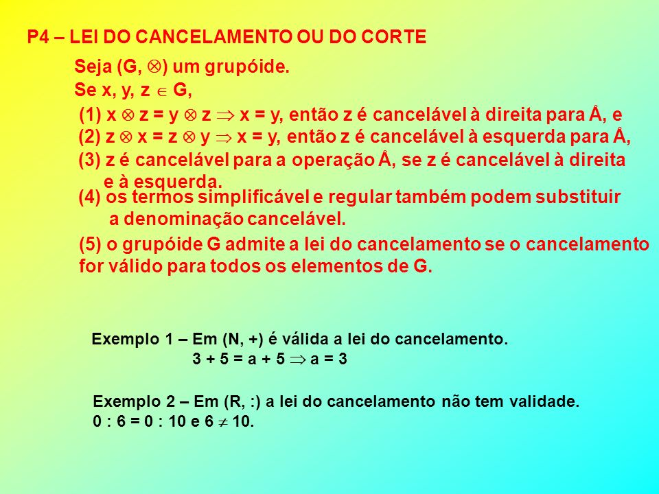 P4 – LEI DO CANCELAMENTO OU DO CORTE