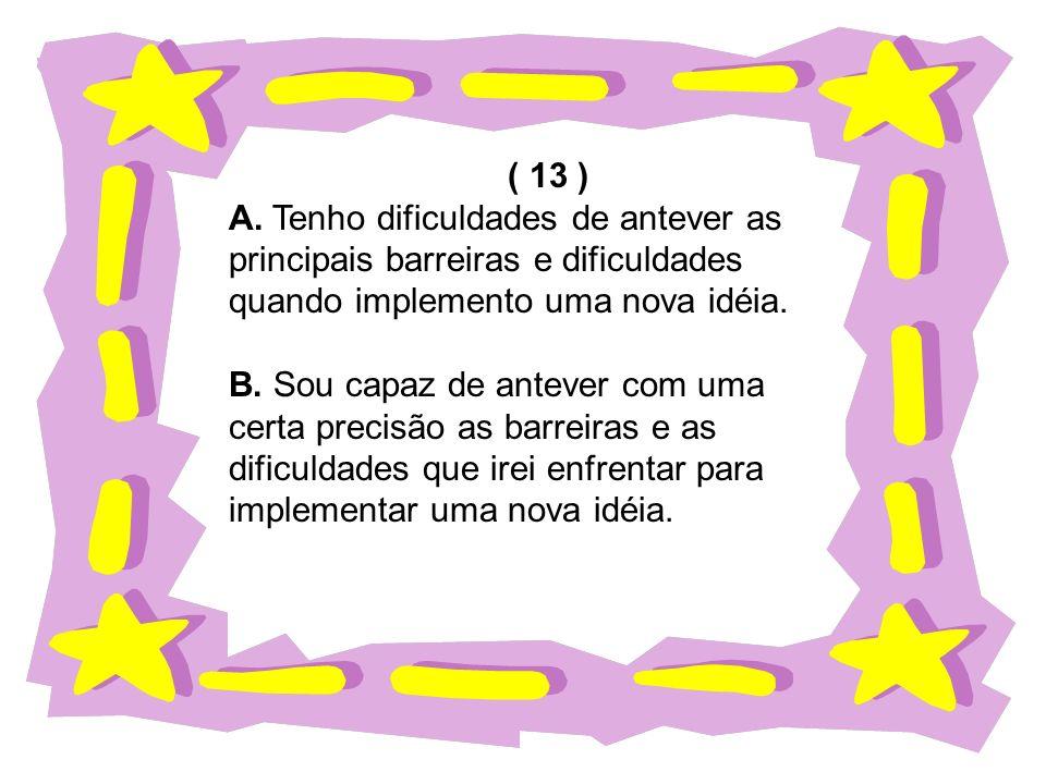 ( 13 ) A. Tenho dificuldades de antever as. principais barreiras e dificuldades. quando implemento uma nova idéia.